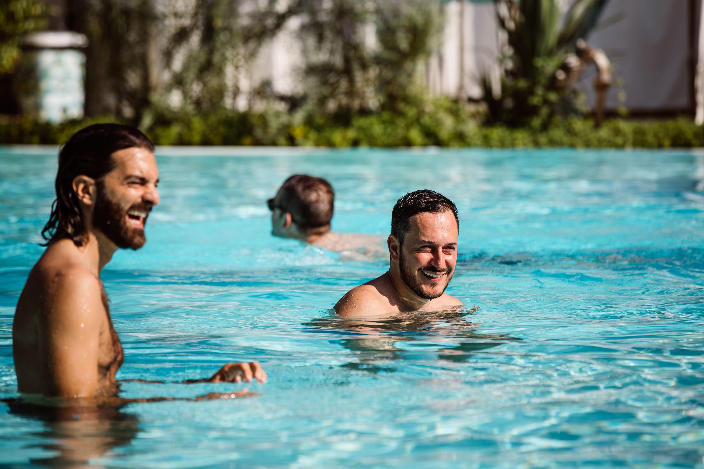 piscina, sorriso,
